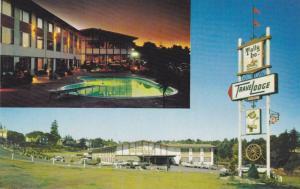 Night View of Swimming Pool, Exterior View of Tally-Ho Travelodge, Nanaimo, B...