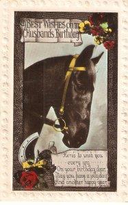 A Horse's Head  Old vintqge English Birthday Greetings  postcard