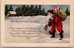 Vintage CHRISTMAS CHEER Postcard SANTA CLAUS Walking in Snow STECHER 1241A