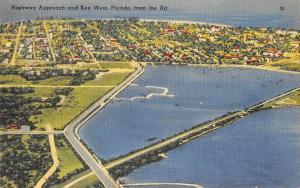 Key West Florida Highway Approach Aerial View Vintage Postcard JA455401