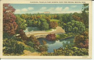 Panorama,Franklin Park Showing Duck Pond Bridge, Boston, Mass.