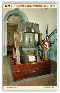 Postcard The Liberty Bell, Philadelphia, PA - American Bicentennial flag C25
