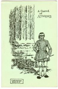 A guard of ATHENS , Greece, 1920s ; Canadian Pacific Cruise Postcard