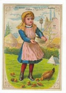 TC  Tracy & Avery's SARICA COFFEE, girl feeds chickens, 1890s