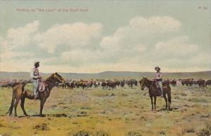 Cowboys Holding Up The Head Of The Beef Herd 1910