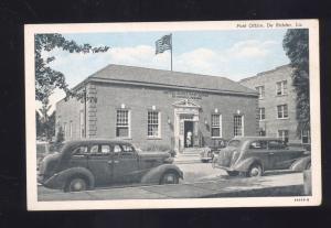 DE RIDDER LOUISIANA U.S. POST OFFICE 1930's CARS VINTAGE POSTCARD LA.