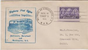 FIRST TRIP HIGHWAY POST OFFICE mail between Baltimore, MD & Washington, DC, 1948