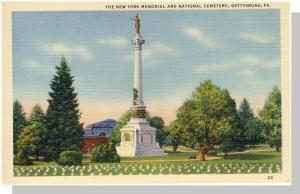 Gettysburg, Pennsylvania/PA Postcard, NY Memorial/Cemetery