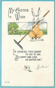 Fantasy~White Easter Rabbit in Yellow Bib Overalls~Ears Up~Long Rake~Emboss~1915