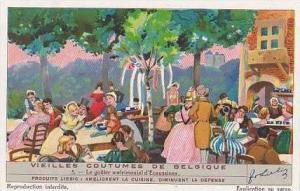 Liebeig Vintage Trade Card S1366 Ancient Belgian Customs 1937 No 5 Le gouter ...