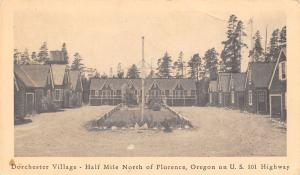 Florence Oregon~Dorchester Village Roadside Motel Cabins~US 101~$2 Up~1940 Sepia