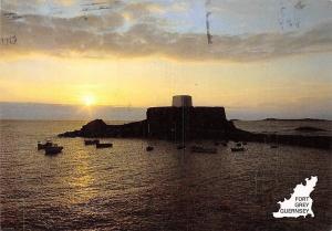 Guernsey, Fort Grey, Rocquaisne, west coast, sunset
