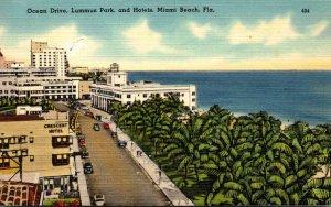 Florida Miami Beach Ocean Drive Lummus Park and Hotels