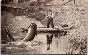 1912 LONG PRAIRIE, Minnesota Postcard Exaggeration Fishing is Always Good
