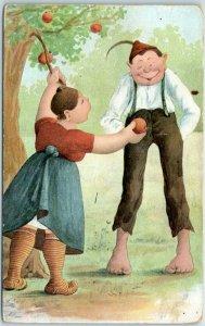 Vintage Comic Postcard Boy Girl Apple Tree Germany c1910s Unused