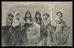 Spain Sevilla Vintage Postcard Andaluces ladies in local costumes