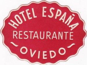 Spain Oviedo Hotel Espana Vintage Luggage Label sk4495