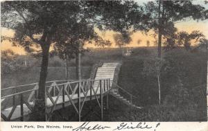 Des Moines Iowa~Union Park Scene~Walking Bridge & Stairway on Hill~1909 Postcard