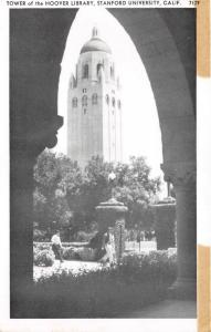 Stanford California~Stanford University~Hoover Library Tower~Students~1950s B&W
