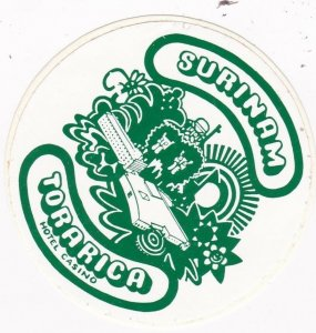 Suriname Torarica Hotel Casino Torarica  Vintage Luggage Label sk1993
