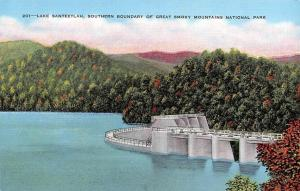 NC, North Carolina  LAKE SANTEETLAH DAM  Graham County   c1940's Linen Postcard
