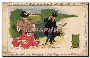 Humor - A gun of the Red - Billiards - Pool - Sport - Flirtation - Old Postcard