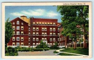 MOLINE, Illinois IL ~ LUTHERAN HOSPITAL Rock Island County 1941 Linen Postcard