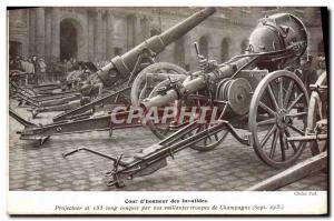 Old Postcard Militaria Paris Court & # 39honneur Invalides Projector 155 long