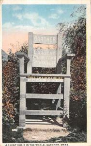 Gardner Massachusetts Largest Chair In World Antique Postcard K56783