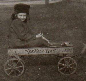 1910-1930 ERA RPPC TOY WAGON YANKEE BOY CHILD WOMAN STREET SCENE MARYLAND ESTATE