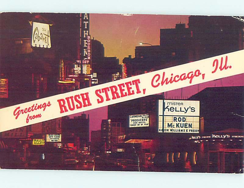 1967 postcard THE PRODUCERS MOVIE SIGN & CABARET SIGN & SHOPS Chicago IL F0986