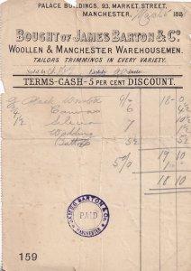 Manchester Victorian 1888 Tailors Wool Antique Receipt