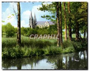 Old Postcard Pontmain mayenne the pond and the Basilica