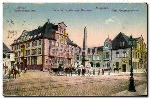 Old Postcard Mainz Neubrunnenplatz Square New Fountain