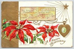 Birthstone December Turquoise~Flower Red Poinsettias~Gold Emboss~1908 E NASH