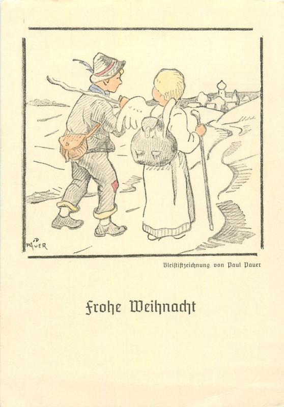 Frohe Weihnacht signed Paul Pauer angel tripping caricature trippers