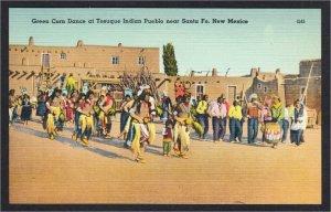 Tesuque Pueblo New Mexico Indian Green Corn Dance NM Linen Postcard 1940s