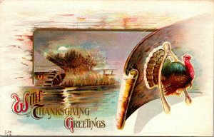 Scenic View Enter His Gates With Thanks Thanksgiving Greetings - PC -  Postcard
