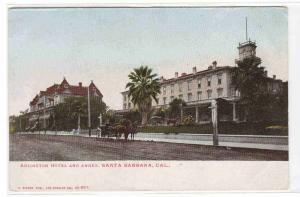 Arlington Hotel Street Scene Santa Barbara California 1905c postcard