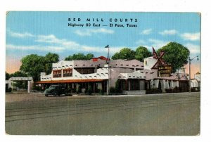 El Paso Texas Postcard Red Mill Courts Motel Street View Neon Sign #75261