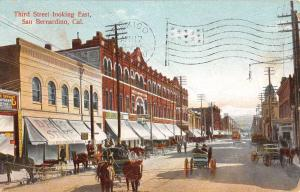 San Bernardino California Third Street Looking East Antique Postcard K102483
