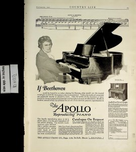 1921 Apollo Reproducing Piano Beethoven Vintage Print Ad 5607