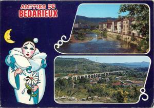 France Badarieux views & sad harlequin moon postcard