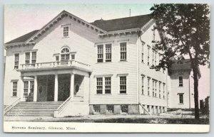 Glencoe MN~Closeup of Stevens Seminary (HS?)~Balcony~Cornices~Fanlight~c1910 PC