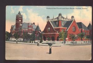 NEWTON KANSAS PRESBYTERIAN CHURCH COUNTY COURT HOUSE VINTAGE POSTCARD