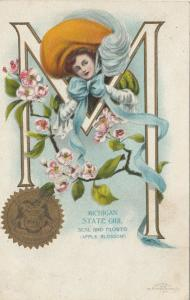 MICHIGAN, 1900-10s; State Girl, Seal and Flower, Apple Blossom