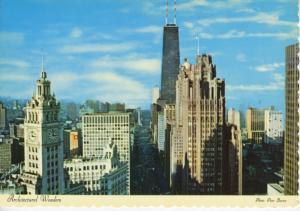 North Michigan Avenue Chicago IL Illinois Wrigley Building Tribune Postcard D22