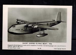1936 Mint Imperial Airways England Empire FLying Boat Seaplane Flying postcard