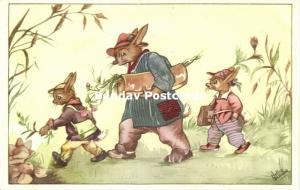 Dressed Rabbits, Travelers (1953) Artist Signed Nellie Donker