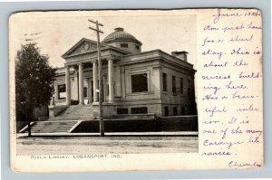 Logansport IN, Public Library, Vintage Indiana c1905 Postcard